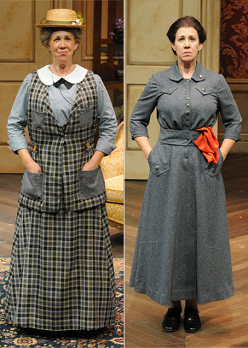 Maggie Carney in The Importance of Being Earnest (left) and Travesties (right)