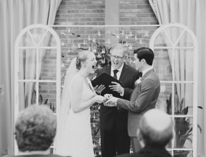 The wedding ceremony performed by friend and Cygnet artist Ralph Johnson