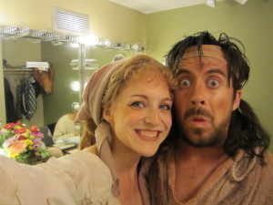 Katie and Byran backstage in Man of La Mancha