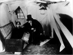A still from The Cabinet Dr. Caligari, a 1920 German Expressionist horror film directed by Robert Wiene.